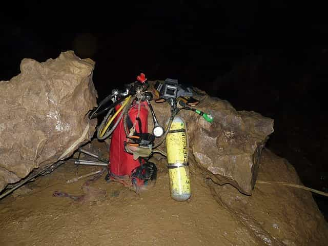 dive equipment on the beach